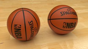 basketballs on court